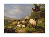 Sheep in a Landscape, 1863 Giclée-Druck von Eugene Joseph Verboeckhoven