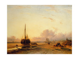 Beach Scene with Fishing Boats Giclee Print by Charles-Henri-Joseph Leickert