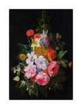 A Swag of Roses and Other Flowers Hanging from a Nail Giclee Print by Nicholaes van Verendael