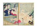 A 'Shunga' (Erotic Print), from 'Manpoku Wago-Jin: Two Pairs of Lovers, 1821 Giclée-Druck von Katsushika Hokusai