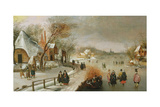 Winter Landscape with Skaters Giclée-Druck von Adam Van Breen