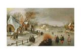 Winter Landscape with Skaters Giclée-Druck von Adam Van Breen