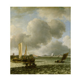Boats on Ruffled Water Giclee Print by Jan Van De Capelle Or Cappelle