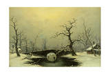Skaters in a Frozen Winter Landscape Giclee Print by Nils Hans Christiansen