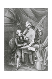 Portrait of Franz Joseph Haydn (1732-1809) and Wolfgang Amadeus Mozart (1756-91) Composing Music… Giclee Print by John Francis Rigaud
