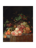 Still Life with Peaches and Grapes Giclee Print by Ernst Stuven