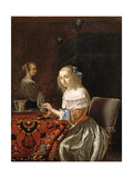 A Young Woman Stringing Pearls Lámina giclée por Frans Van Mieris
