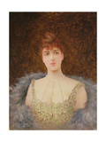 Portrait of a Girl with Fur Wrap Giclee Print by Georges Croegaert