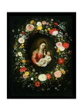 Madonna and Child Surrounded by a Garland of Flowers Giclee Print by Jan Brueghel the Younger