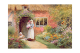 Mother and Children Outside a Cottage Giclee Print by Arthur Claude Strachan