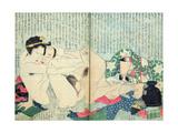 A 'Shunga' (Erotic Print), from 'Manpoku Wago-Jin': Lovers and a Wine Jar, 1821 Giclee Print by Katsushika Hokusai