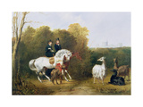 Queen Victoria (1819-1901) and Prince Albert (1819-61) Viewing the Llamas in the House Park,… Giclee Print by Gourlay Steel