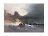 Rocky Coast with Wrecks Giclee Print by Henry Bright