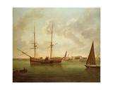 Collier Brig Discharging Her Cargo of Coal into Lighters Near Limehouse Giclee Print by Robert Dodd