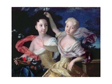 Portrait of the Princesses Anna Petrovna (1708-28) and Elizabeth Petrovna (1709-62) 1717 Giclee Print by Louis Caravaque