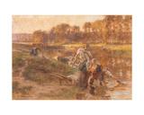 Washerwomen in Sunlit River Landscape Giclee Print by Léon Augustin L'hermitte
