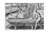 Indians Making Canoes, from 'Admiranda Narratio', Engraved by Theodor De Bry (1528-1598) 1590 Giclee Print by John White