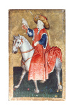 A Mounted Falconer, One of a Set of Playing Cards Depicting Scenes of Courtly Hawking, Upper… Giclee Print by Konrad Witz