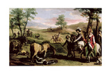 Don Quixote Falls from His Horse in Front of the Dukes Giclee Print by Zacarias Gonzalez Velazquez