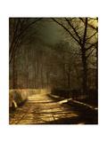 John Atkinson Grimshaw - A Moonlit Lane, with Two Lovers by a Gate Digitálně vytištěná reprodukce