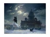 View of the Monument to Peter the Great in Senate Square, St. Petersburg, 1870 Giclee Print by Vasilii Ivanovich Surikov