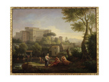 Landscape with Figures and a Fortress by a River Giclee Print by Jan Frans van Bloemen