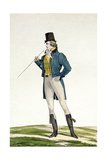 A Dandy in a Robinson Hat, with Childlike Curls, Knitted Trousers, and Riding Boots, Plate 5 in… Giclée-Druck von Antoine Charles Horace Vernet