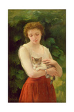 Country Girl and Her Kitten Giclee Print by Charles Landelle