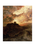 Sunset, Pueblo Del Walpe, Arizona, 1880 Giclee Print by Thomas Moran