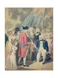 George III Presenting a Sword to Lord Howe, C.1794 Giclee Print by Isaac Cruikshank
