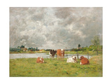 Cows in a Field under a Stormy Sky, 1877 Giclee Print by Eugene Louis Boudin