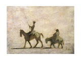 Don Quixote and Sancho Panza Giclée-tryk af Honore Daumier