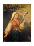 Young Woman Spinning Wool Giclee Print by Abraham Solomon