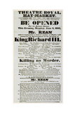 Poster Advertising Edmund Kean (1787-1833) in 'Richard III' at the Theatre Royal, Haymarket, 1832 Giclee Print