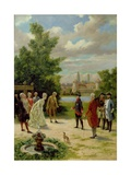 Frederick the Great (1712-86) at Rheinsberg Castle Giclee Print by Fedor Poppe