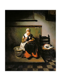 A Young Woman Sewing, 1655 Giclee Print by Nicolaes Maes