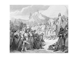 Charlemagne Receives the Surrender of Witikind (Sic) at Paderborn in 785, Engraved by Joubert Giclee Print by Ary Scheffer