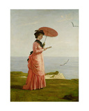 Lady Tennyson on Afton Downs, Freshwater Bay, Isle of Wight Giclee Print by Valentine Cameron Prinsep