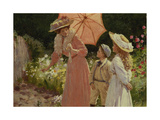 A Lady with a Parasol Showing How to Make a Strawberry Barrel Giclee Print by Percy Tarrant