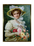Elegant Lady with a Bouquet of Roses Giclee Print by Emile Vernon