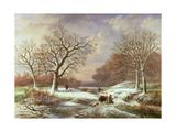 Winter Landscape, 19th Century Giclée-Druck von Louis Verboeckhoven