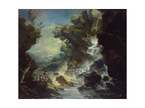 Landscape with Waterfall, C.1700-07 Giclee Print by Antonio Marini