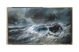 "Shipwreck of the Three-Master ""The Emily"" in 1823, 1865 Giclee Print by Louis Eugene Gabriel Isabey"