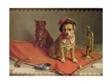 Dog in Military Hat and Collar with Trumpet and Dice Giclee Print by Charles Van Den Eycken