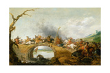 Cavalry Battle on a Bridge, C.1630 Giclee Print by Palamedes Palamedesz
