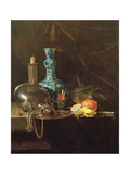 Still Life with a Pilgrim Flask, Candlestick, Porcelain Vase, Glasses and Fruit Giclee Print by Willem Kalf