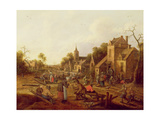 Peasant Merrymaking Outside a Village Inn Giclee Print by Claes Molenaer