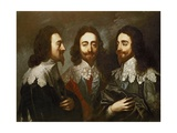 Charles I in Three Positions (1600-49) Painting after Van Dyck Giclee Print by Carlo Maratta or Maratti