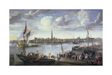 Antwerp from the Further Bank of the Scheldt, 17th Century Giclee Print by Hendrik van Minderhout