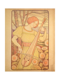 Young Woman with a Lute Giclee Print by Paul Berthon